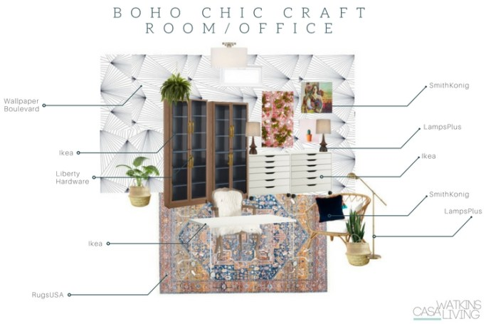 Boho chic craft room office in basement