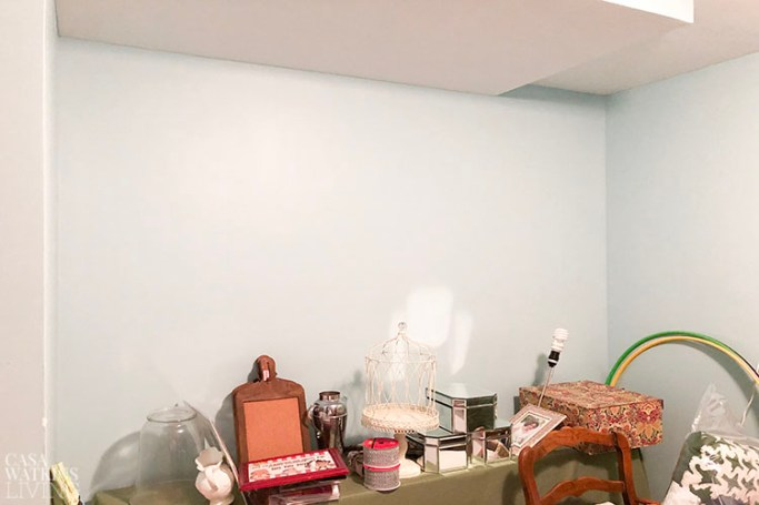 boho chic craft room makeover before