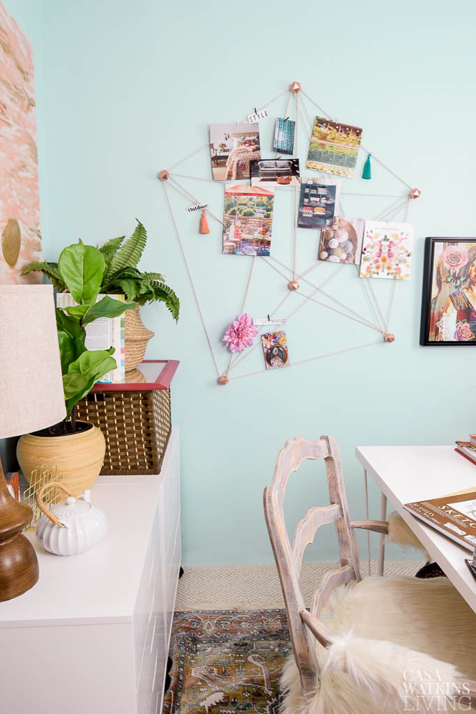 diy macrame wall organizer in boho chic office
