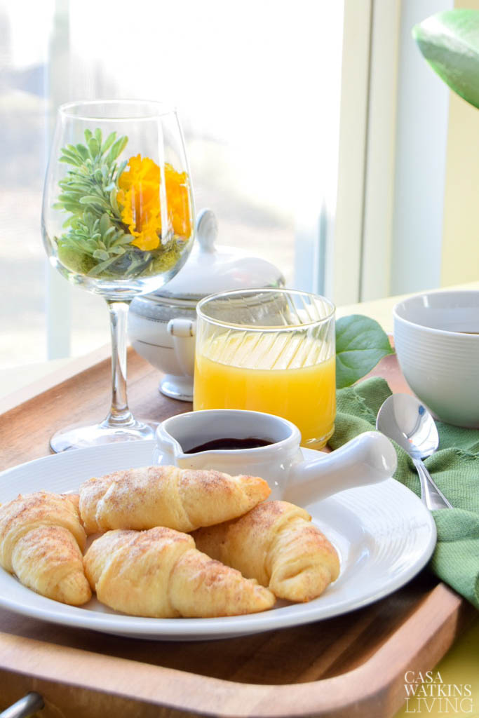 cinnamon sugar croissants and wine glass centerpiece for Valentine's day breakfast tray