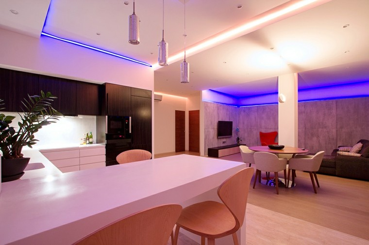 apartamento led azul plantas casa muebles
