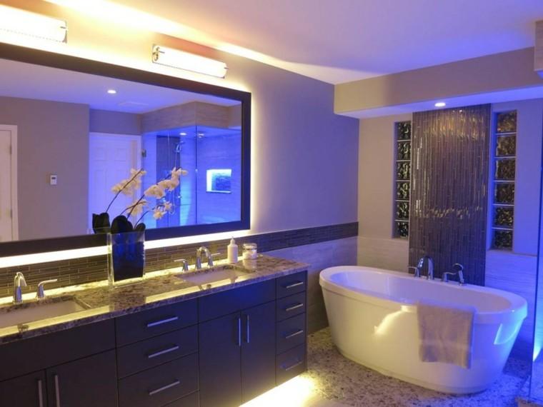 bañera moderno jarron flores led espejo