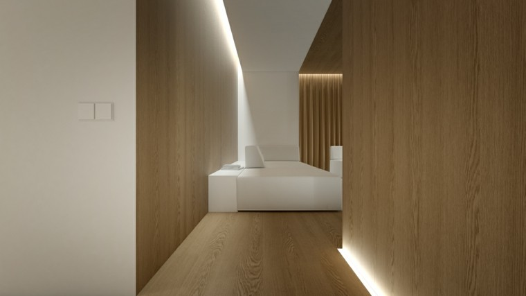 blanco madera salon led moderno