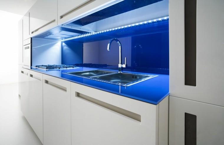 iluminación led blanco mueble moderno azul