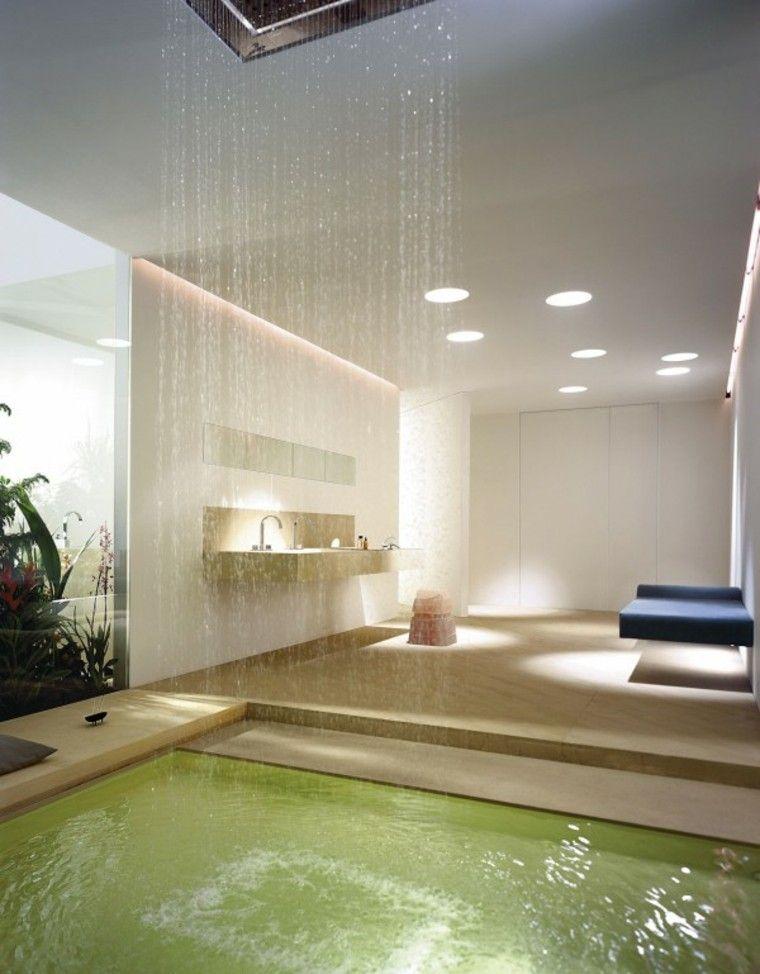 moderno baño cascada asientos lujo