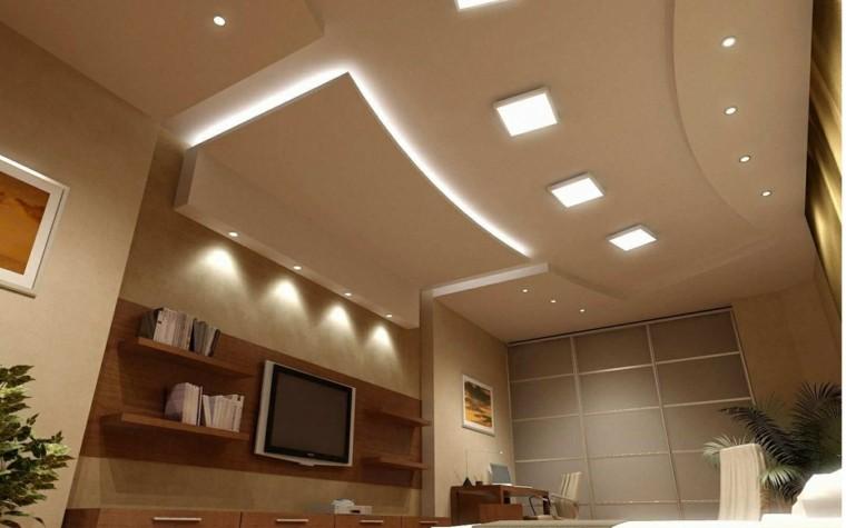 salon techo moderno luces plantas