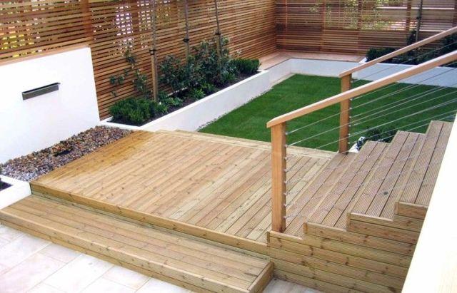 diseño jardin escaleras madera teca