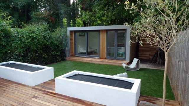 jardin pequeño diseño moderno madera