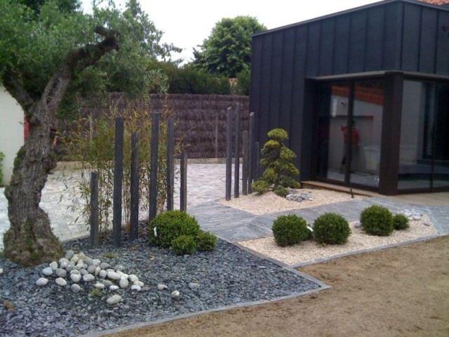 jardin piedras estilo zen diseño