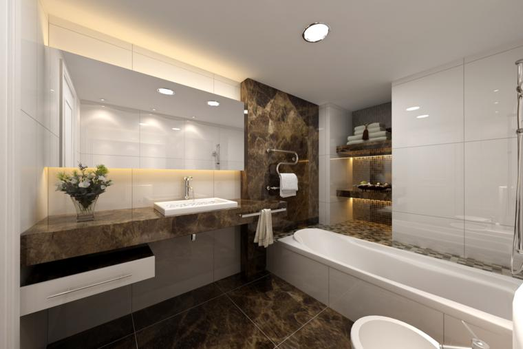 azulejos baño simil marmol marron