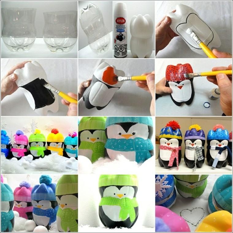 originales pinguinos botellas plastico recortadas