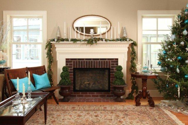 chimenea salon decoracion navidad natural