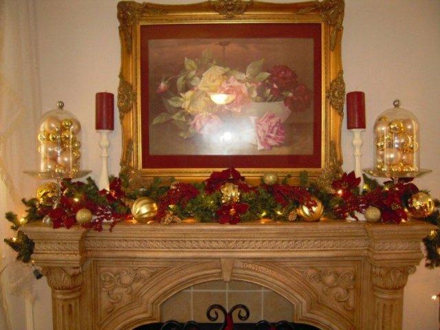 decoracion naviodad rojo dorado