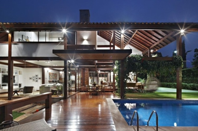 iluminacion moderna techo madera lamparas ideas exterior