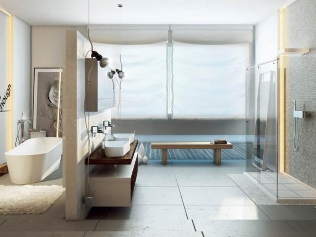MOMA Design bano moderno amplio pared separadora ideas