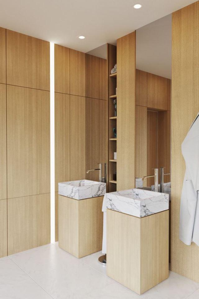 bano diseno moderno iluminacion original pared lavabos madera ideas