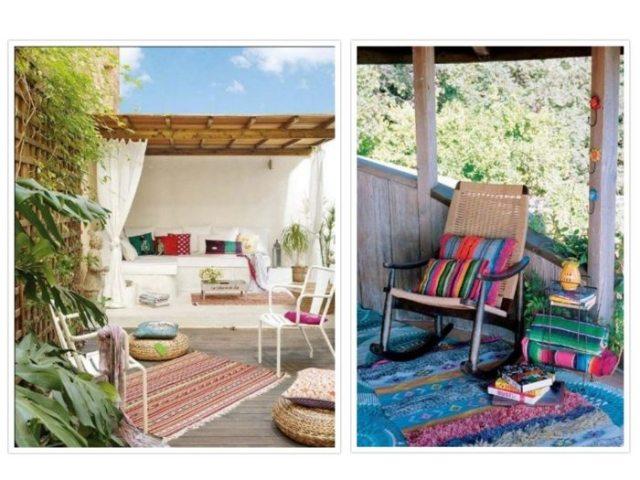 exteriores decoracion bohemio muebles alfombras