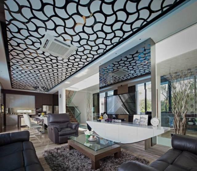 tavan modern cam tasarımını dekore etmek için fikirler