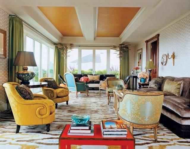 tavanı modern sarı dokunuşları dekore etmek için fikirler