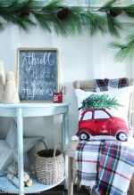 Classic Red Plaid Christmas Front Porch and Entry Hall-12