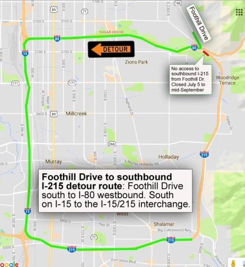 Foothill Drive to I-215 Detour