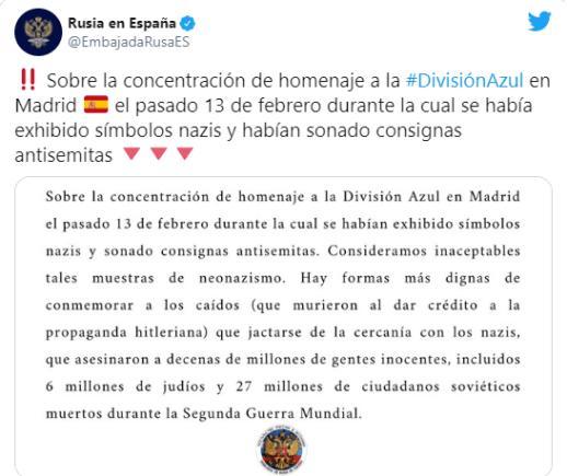 tuit embajada Rusia