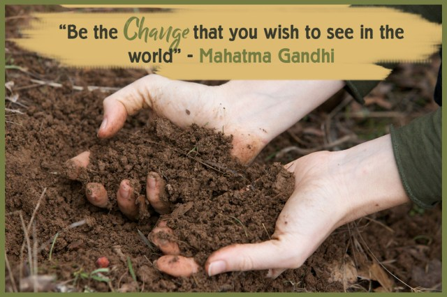 Happy New Year from Natural Earth Paint - image of hands holding soil and quote from mahatma gandhi