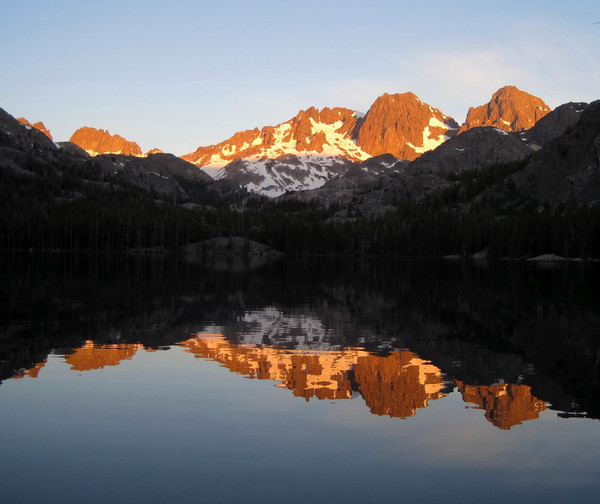 Alpenglow over Mount Ritter and Banner Peak from Shadow Lake