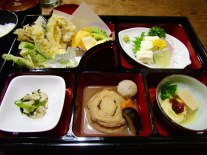The Yuba Fest at Bell Cafe in Nikko. Yuba is the skin created when soy milk is boiled.