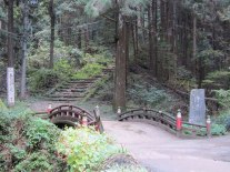 A bridge leading into the forest near Neno-Gongen temple