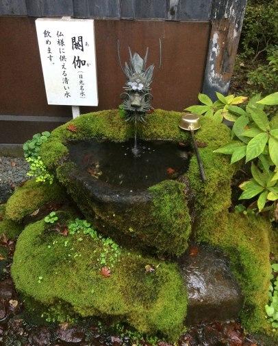 A kuzuryū (nine-headed dragon) fountain at Jokoji Temple near our ryokan in Nikko