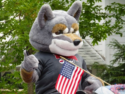 Western Oregon University mascot Wolfie served as Grand Marshal for the 2016 Western Days Parade in Monmouth/Independence, Ore.