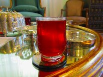 Having iced hibiscus tea at my land lady's house