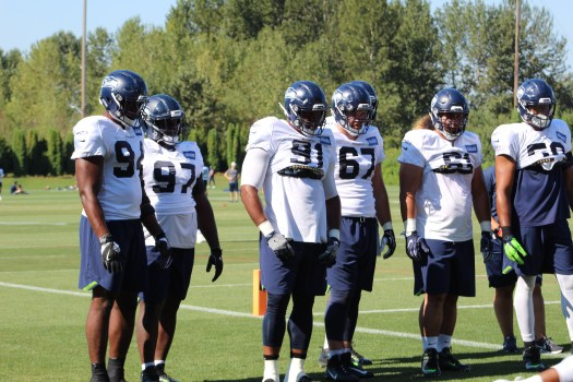 Seahawks defensive line man prepare for drill