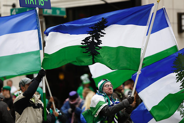 Great picture from the Seattle Times as Seattle CN! leads up a contingent in the city's annual St. Patrick's Day parade.