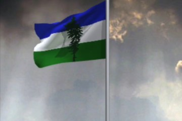 Animation of a Cascadian Doug flag waving in the wind.