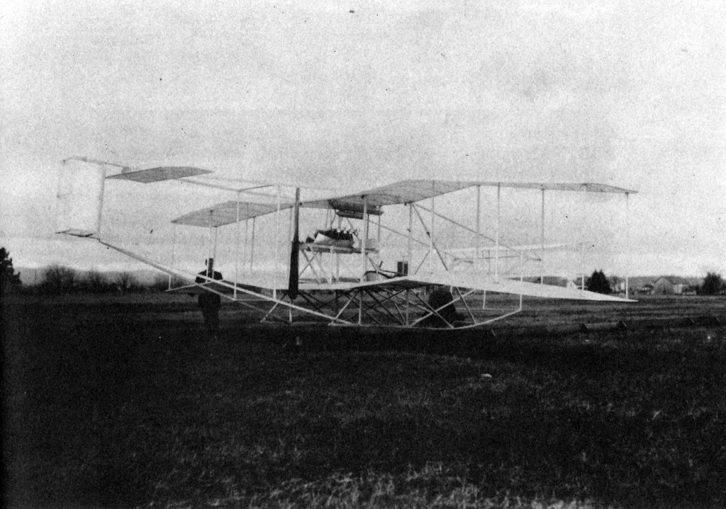 John Burkhart, Oregon's First Aviator, appears with his aircraft