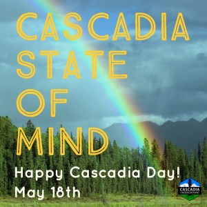 Rainbow over British Columbia image promoting Cascadia Day