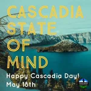 Crater Lake image promoting Cascadia Day