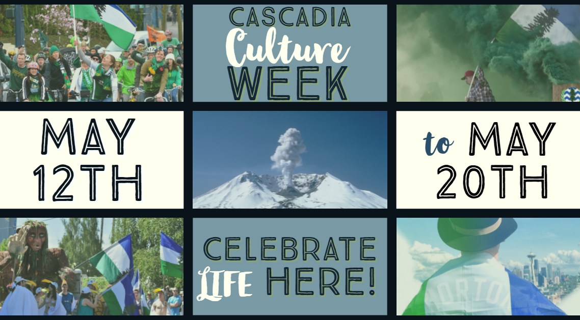 A panel of pictures of people in nature frame a plume of smoke erupting from Mount St. Helens. Introducing Cascadia Culture Week 2018