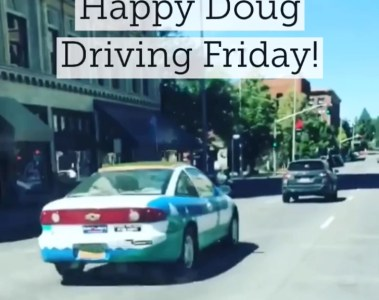 The Dougmobile driven the streets of Cascadia.