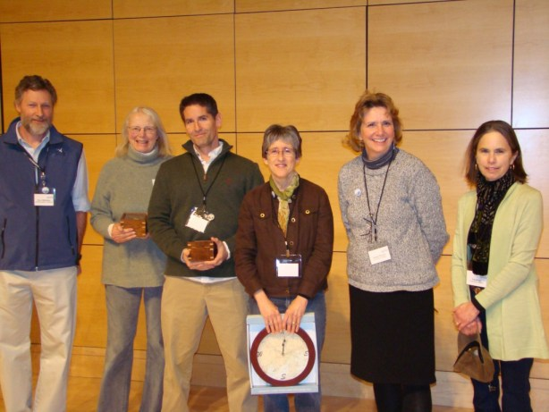 Friends of Casco Bay's Citizen Stewards Coordinator Peter Milholland congratulates volunteers who achieved milestones in water quality monitoring in 2013: Joan Greene and Mike Doan—20 years, Roberta Brezinski—15 years, Jeannie Wester and Nan Bragg—5 years. (Not shown: 5-year veterans Charlotte Rosenthal and Sarah Coburn)