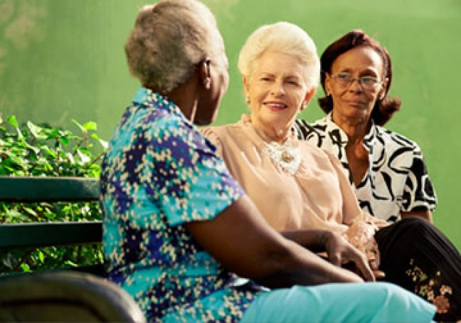 Group of elderly ladies talking