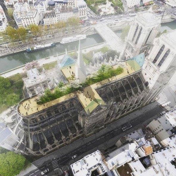 Public park crowning Notre Dame