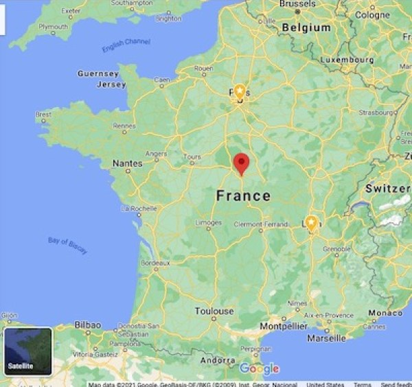 Location of Bourges, France