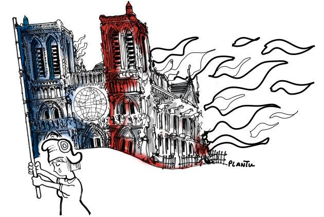 Notre Dame Fire, by Plantu
