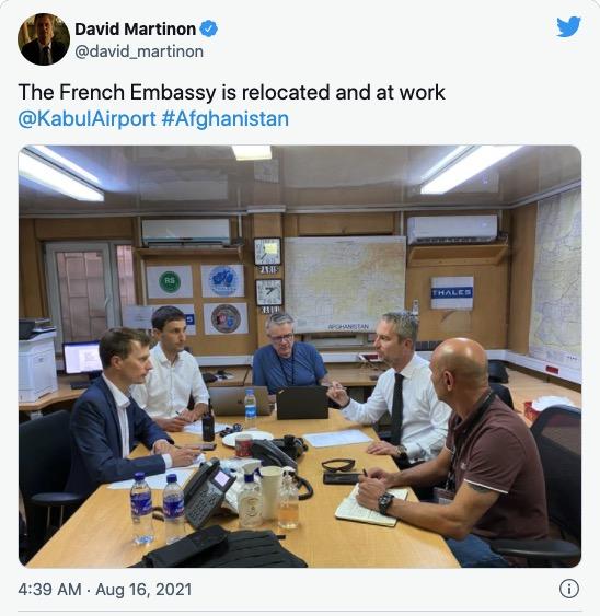 Martinon working on evacuating Kabul from inside Kabul airport