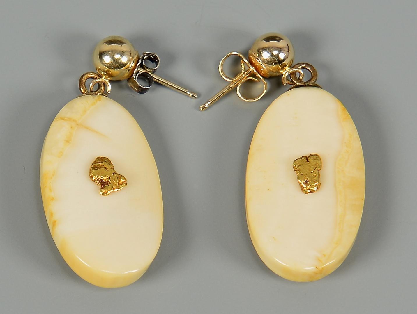 Lot 4010144 Alaskan Scrimshaw Ivory Amp Gold Nugget Jewelry