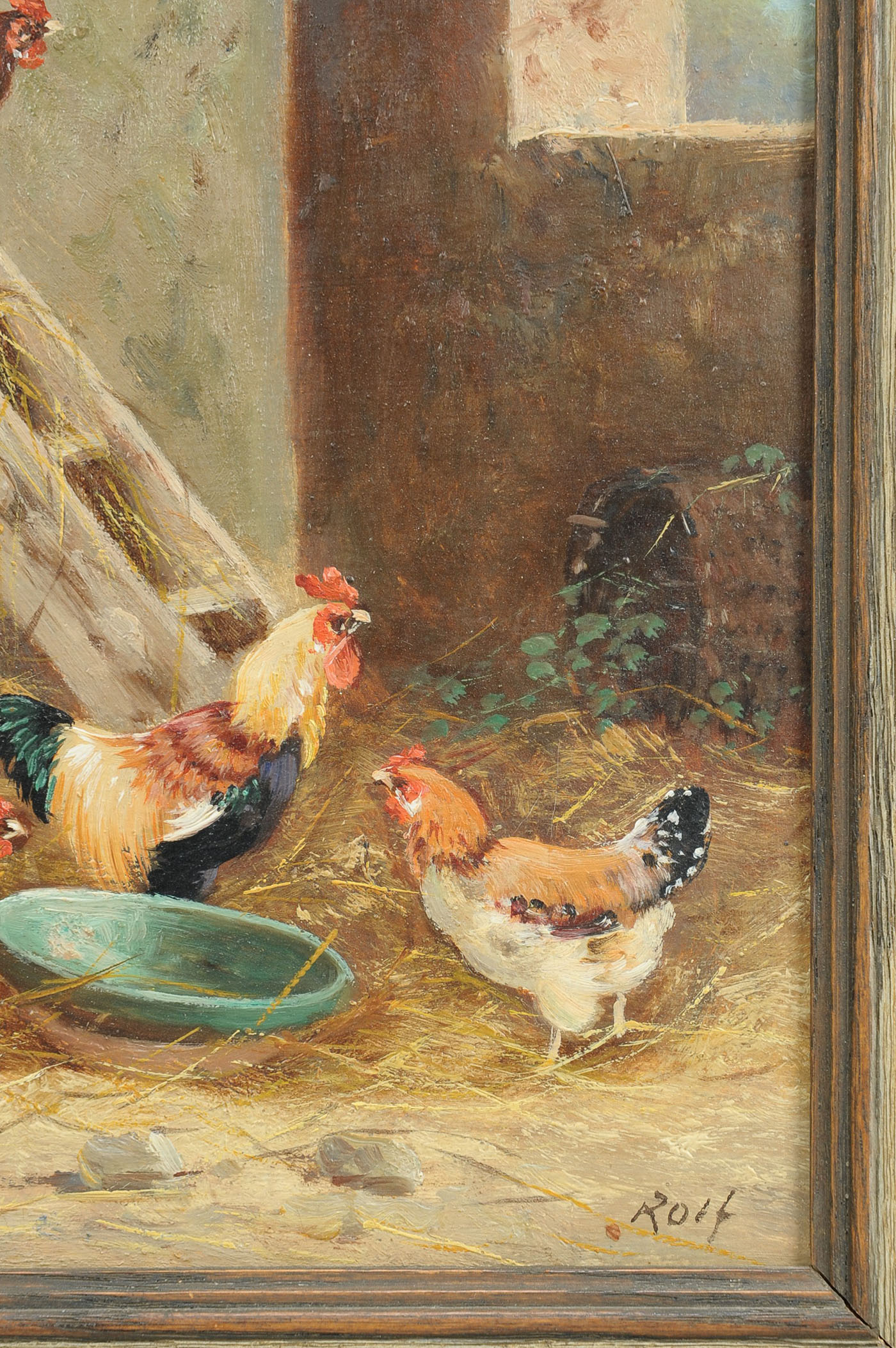 Lot 194 Oil Painting Of Chickens Signed Rolf