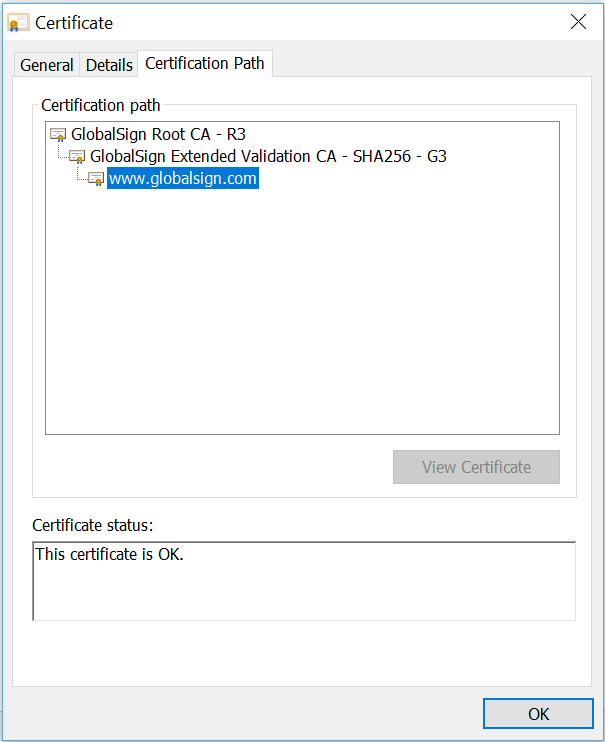 Example certificate path for publicly trusted SSL/TLS Certificate viewed in Chrome